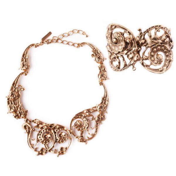Scroll bracelet and necklace Oscar de la Renta