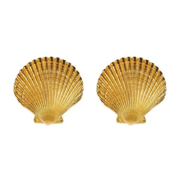 Vintage Seashell Earrings YSL