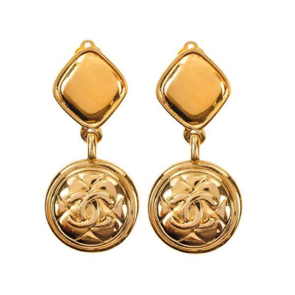 Vintage Dangle Gold Earrings Chanel