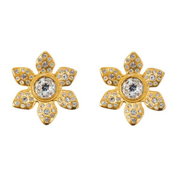 Vintage Flower head earrings YSL