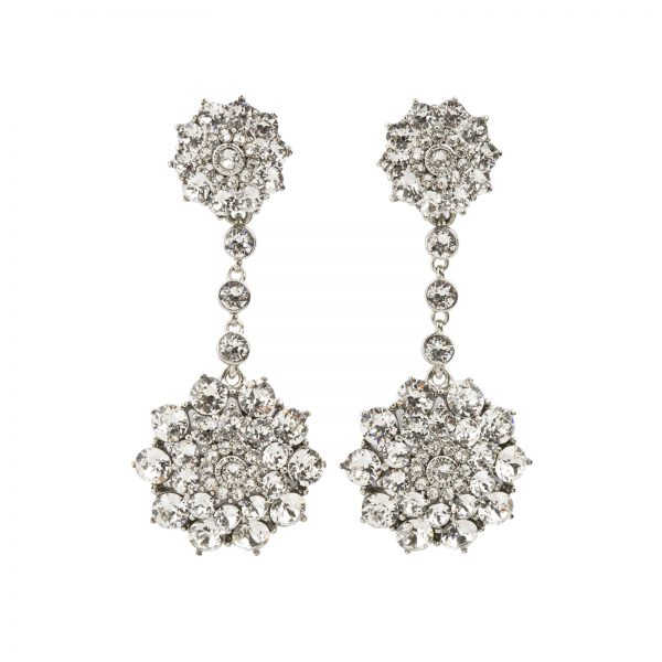 Crystal Floral Earrings Oscar de la Renta