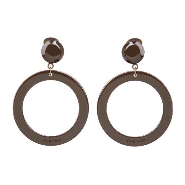 Plexi brown hoop earrings Miu Miu