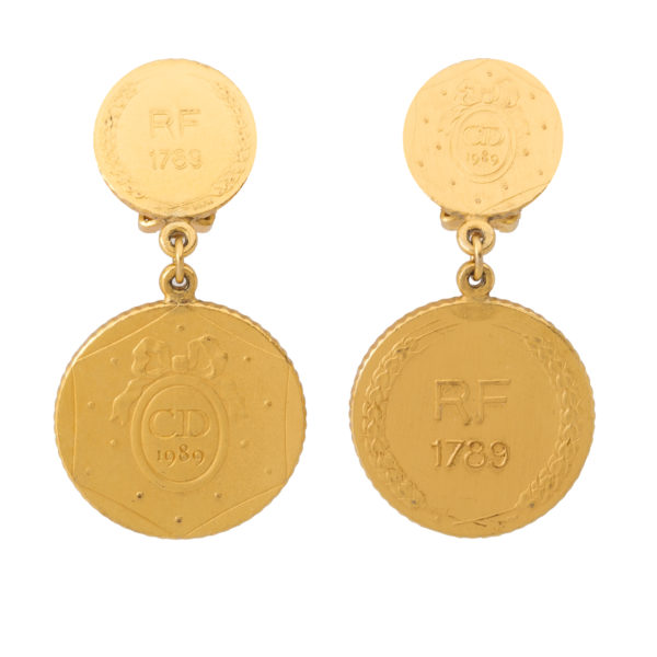 Vintage Anniversary Coin Earrings Dior