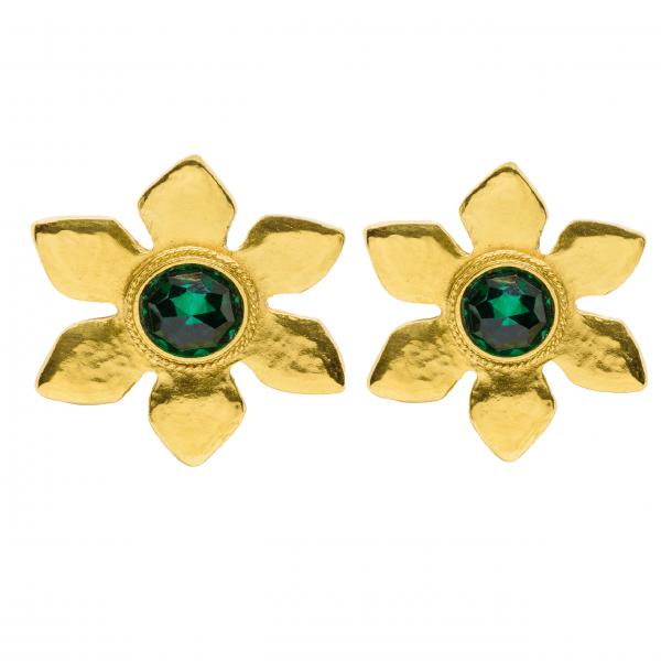 Vintage Emerald Stone Flower YSL