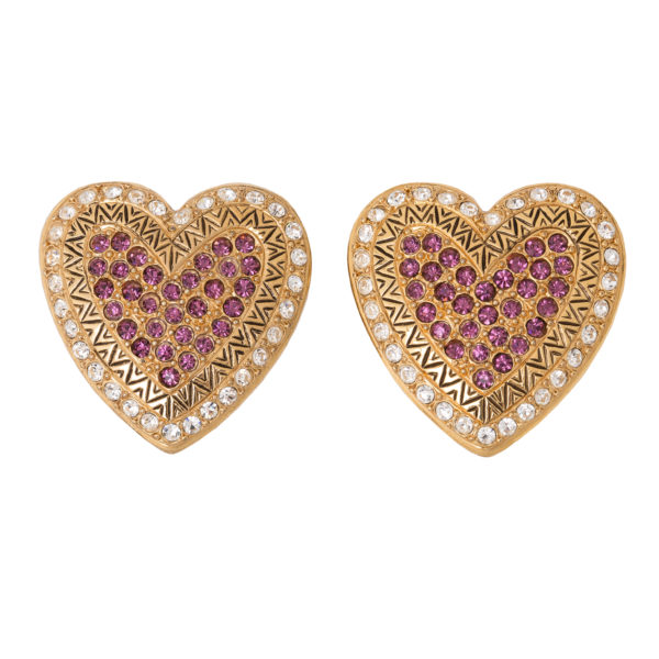 Vintage pink crystal heart earrings YSL