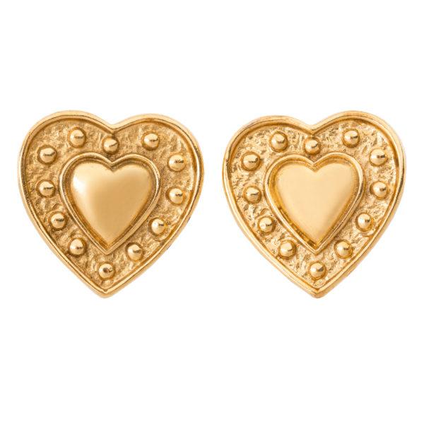 Vintage gold heart earrings YSL