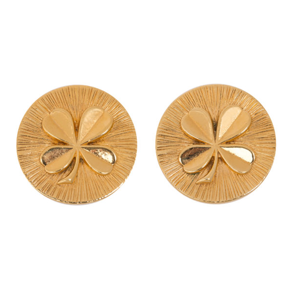 Round gold clover earrings Chanel