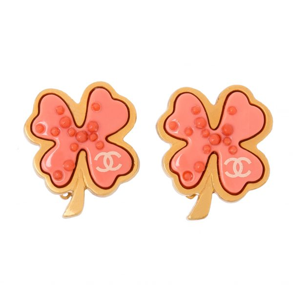 Pink Four-leaf Clover Earrings Chanel