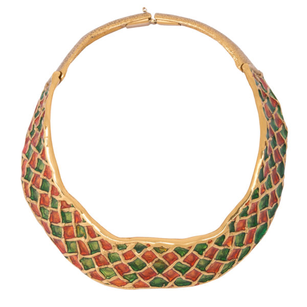 Vintage Harlequin Enamel necklace YSL