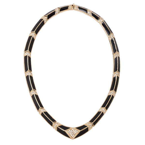 Vintage black enamel necklace Dior