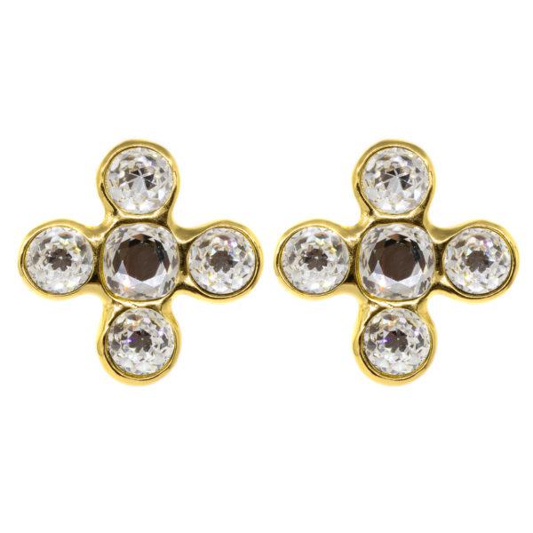 Vintage crystal cross earrings YSL