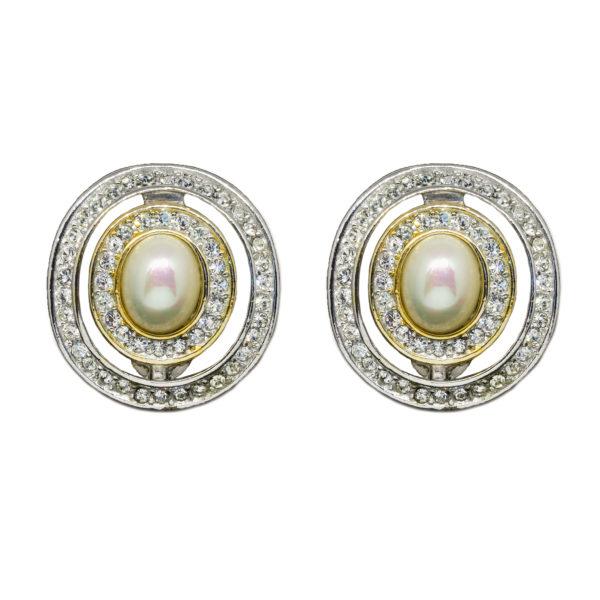 Vintage silver pearl earrings Dior