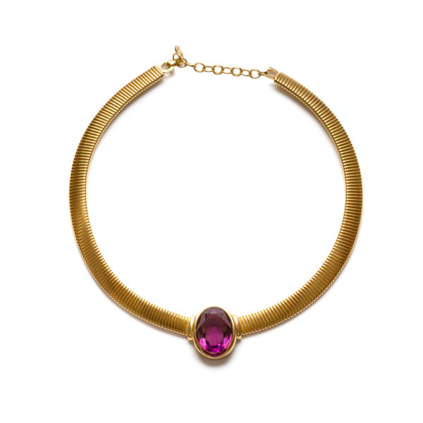 Vintage purple stone gold necklace Dior