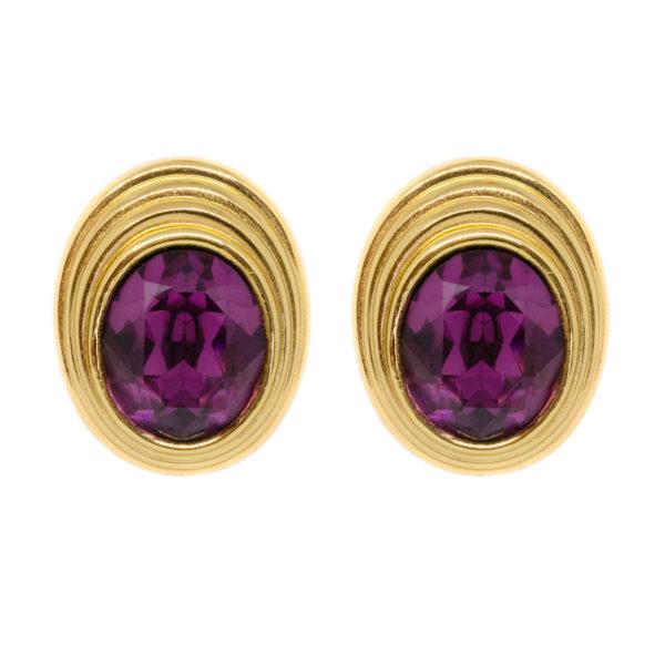 Vintage purple stone gold earrings Dior