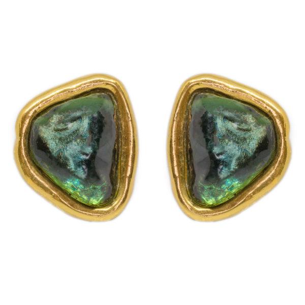 Vintage green stone shape earrings YSL