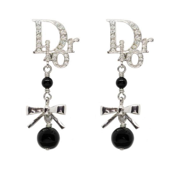 Black ribbon dangle earrings Dior