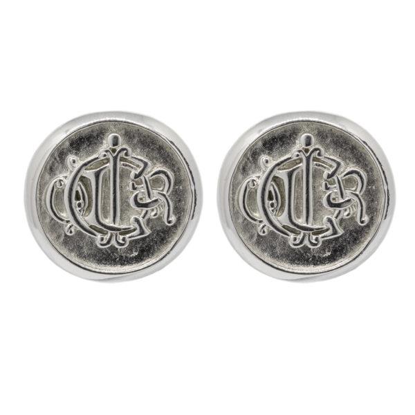 Silver logo emblem round earrings Dior
