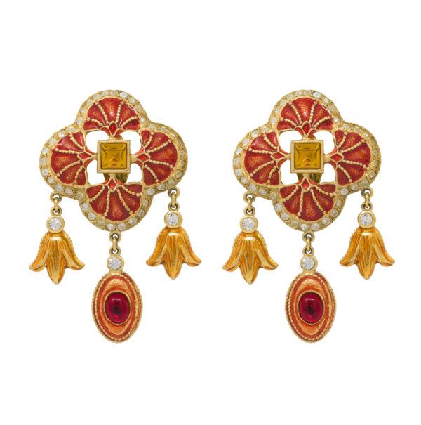 Vintage red ornament earrings YSL