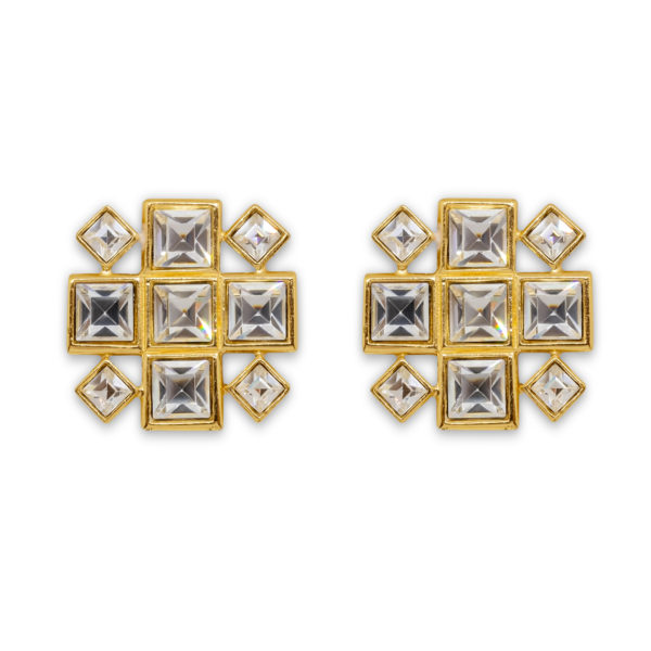 Crystal square earrings YSL